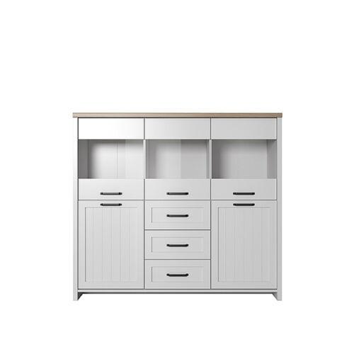 VERLA Vitrines szekrény bárral ,fehér/tölgy köves,  Vitrines szekrény bárral ,fehér/tölgy köves [2D3W3S]