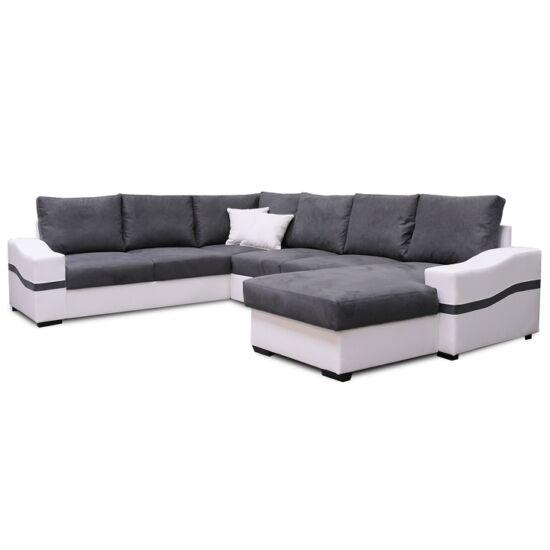 OREGON U alakú ülőgarnitúra - fehér/szürke,  jobb oldali kivitel [NAGY SAROK]