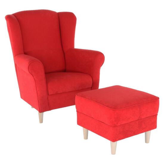ASTRID Fotel + puff,piros,  Fotel + puff,piros