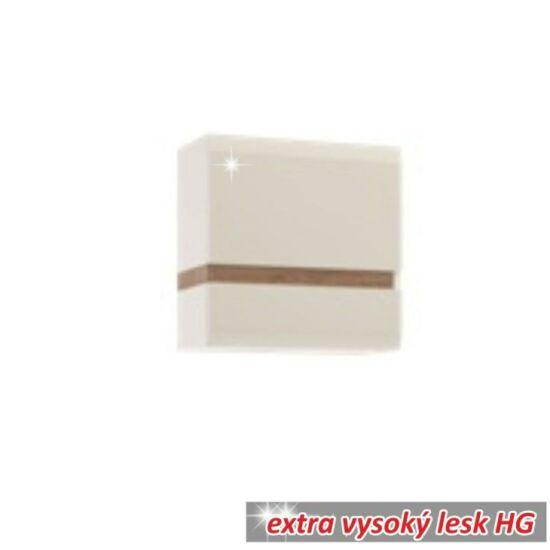 LYNATET Fali szekrény,  fehér extra magas fényű HG/tölgy sonoma sötét trufla [TYP 66]