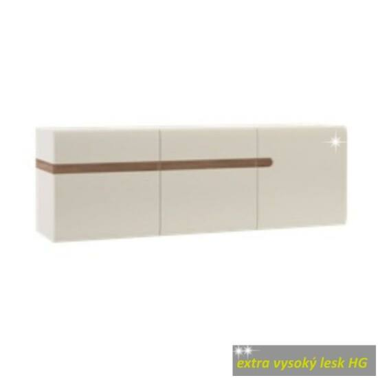 LYNATET Fali szekrény,  fehér extra magas fényű HG/tölgy sonoma sötét trufla [TYP 67]