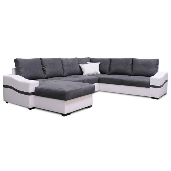 OREGON U alakú ülőgarnitúra - fehér/szürke,  balos [NAGY SAROK]
