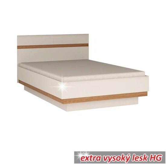 LYNATET Ágy 140,  fehér extra magas fényű HG/tölgy sonoma sötét trufla [TYP 91]