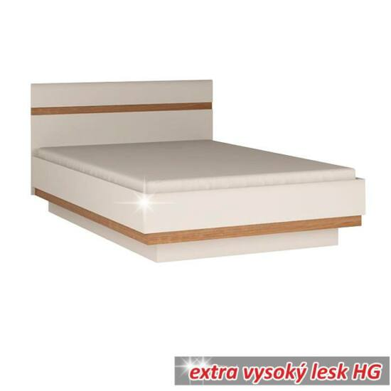 LYNATET Ágy 160,  fehér extra magas fényű HG/tölgy sonoma sötét trufla [TYP 92]