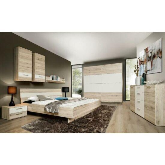 VALERIA Hálószoba - szekrény+ágy+2db éjjeliszekrény,   homok tölgyfa/fehér