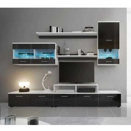LEO Nappali sor LED világítással,fehér/fekete- extra magas fényű HG,  Nappali sor LED világítással,fehér/fekete- extra magas fényű HG