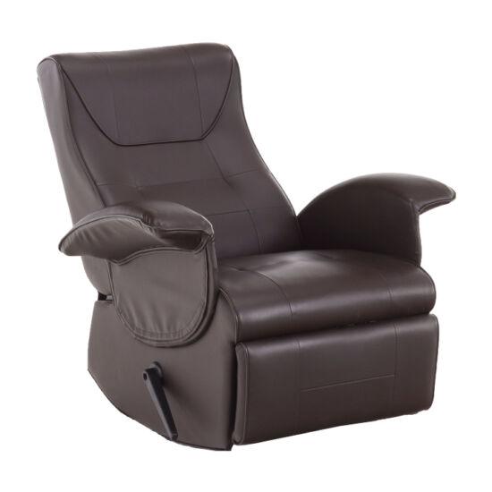 ROMELO Mechanikusan állítható pihenőfotel,sötétbarna textilbőr PU,  Mechanikusan állítható pihenőfotel,sötétbarna textilbőr PU [C3]
