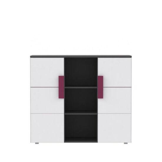 LOBETE Kombinált fiókos komód,  szürke / fehér / lila [43]