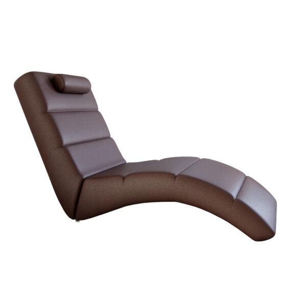 LONG relax fotel,  barna öko bőr