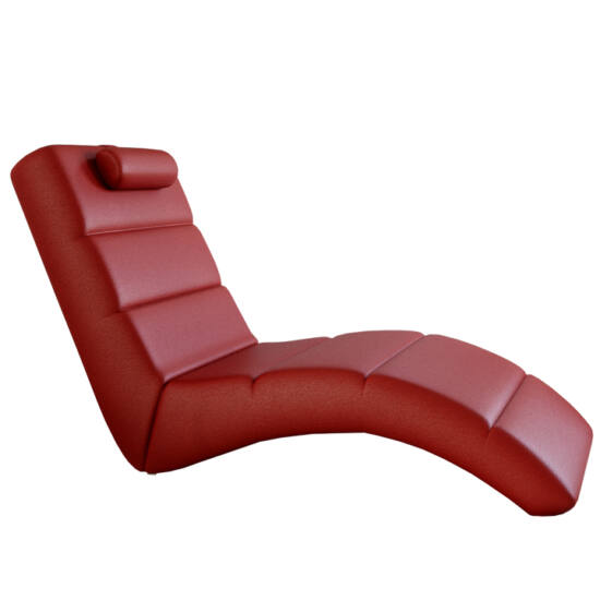 LONG Relax fotel - piros öko bőr,  megrendelésre
