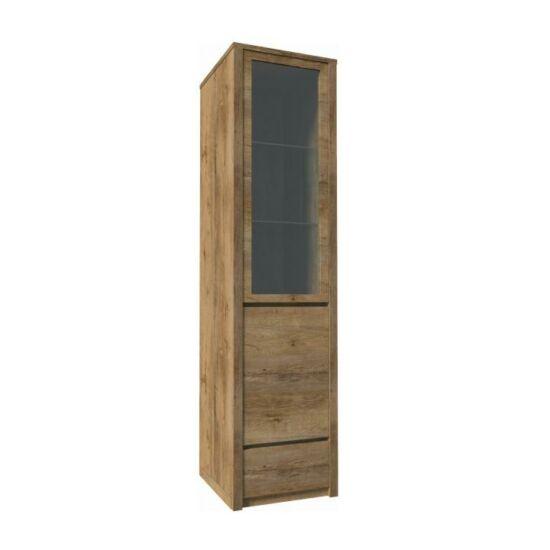 MONTANA Vitrín szekrény 1- kihúzható fiókkal és osztot ajtóval ? teljessen üvegezett,  tölgyfa lefkas [W1D]