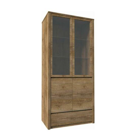 MONTANA Vitrín szekrény 1- fióko és 2 osztot ajtóval ? teljessen  üvegezett,  tölgyfa lefkas [W2D]
