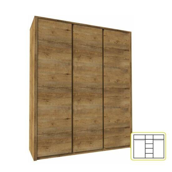 MONTANA Szekrény 3-ajtós,lefkas tölgyfa,  Szekrény 3-ajtós,lefkas tölgyfa [S3D]