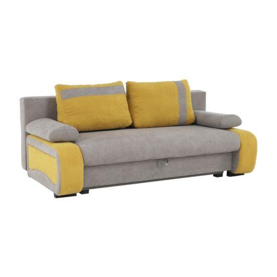 BOLIVIA kanapé ágyfunkcióval, ágyneműtartóval,  szövet szürke-barna/sárga
