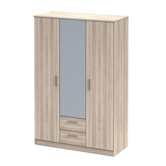 NOKO-SINGA 3ajtós szekrény tükörrel,  sonoma tölgyfa [82]