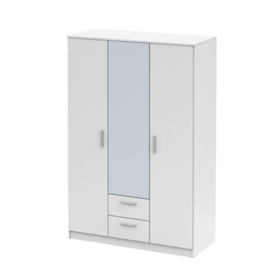 NOKO-SINGA Háromajtós szekrény tükörrel,  fehér [82]