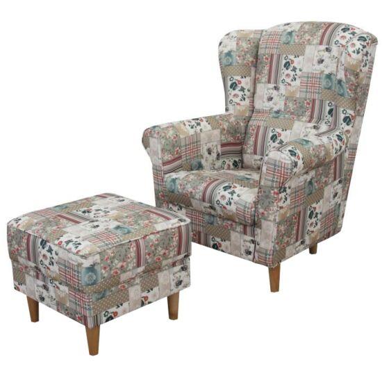 ASTRID Fotel + puff,patchwork Viorica 1,  Fotel + puff,patchwork Viorica 1