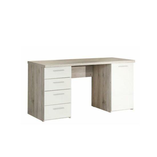 VALERIA PC asztal,  tölgy homokos/fehér