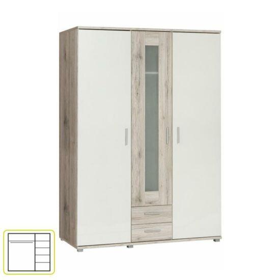 VALERIA Akasztós szekrény polcokkal,  tölgy homokos/fehér [93]