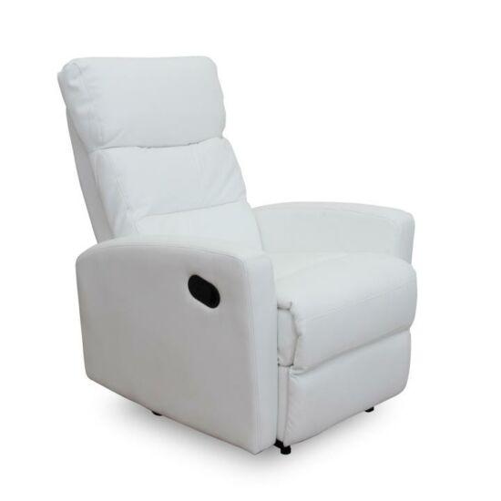 SILAS Pihenőfotel,  fehér textilbőr