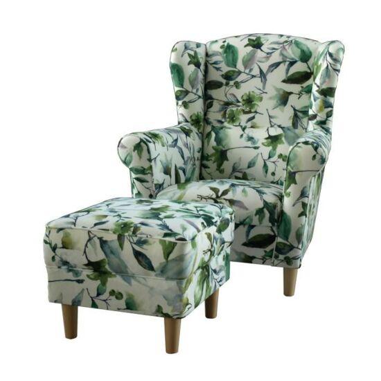 ASTRID Fotel + puff,zöld leveles minta,  Fotel + puff,zöld leveles minta