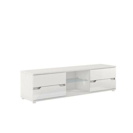 ADONIS RTV asztal,  fehér/fehér extra magasfényű [AS 30]
