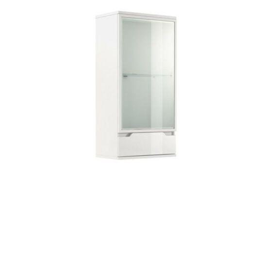 ADONIS Fali vitrines szekrény,  fehér/fehér extra magasfényű [AS 08]