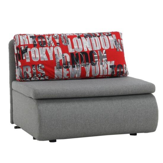 KENY Széthúzható fotel,  szürke / minta [NEW]