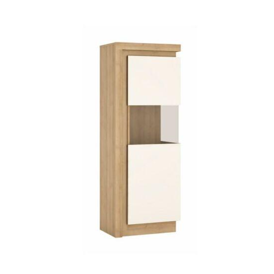 LEONARDO Vitrines szekrény LYOV01P,  tölgy riviera/fehér extra magasfényű