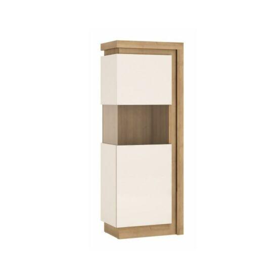 LEONARDO Vitrines szekrény LYOV01L,  tölgy riviera/fehér extra magasfényű