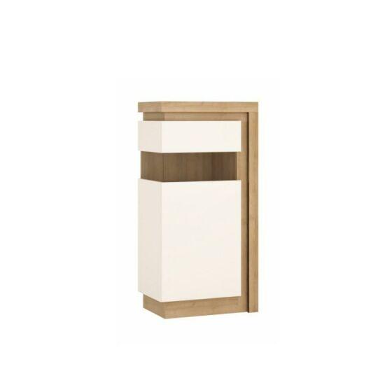 LEONARDO Vitrines szekrény LYOV02L,  tölgy riviera/fehér extra magasfényű