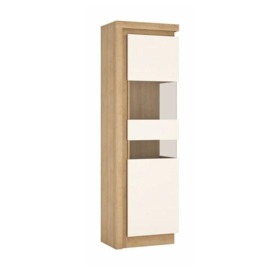 LEONARDO Vitrines szekrény LYOV03P,  tölgy riviera/fehér extra magasfényű