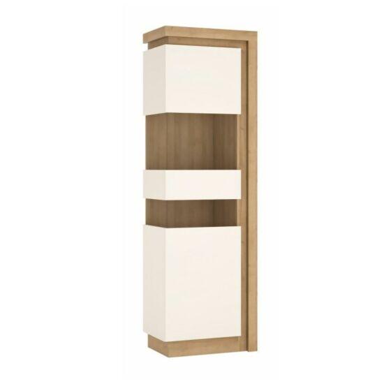 LEONARDO Vitrines szekrény LYOV03L,  tölgy riviera/fehér extra magasfényű