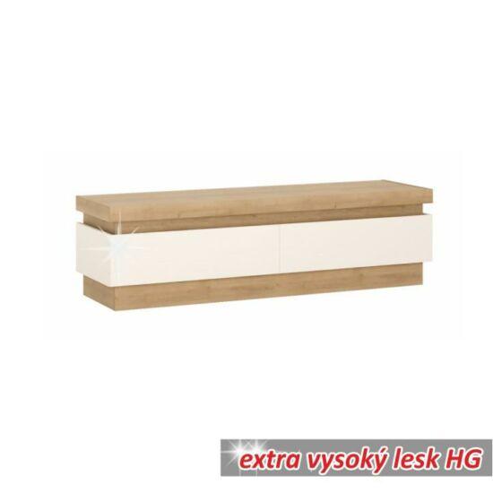 LEONARDO RTV asztal 01,  tölgy riviéra/fehér extra magasfényű