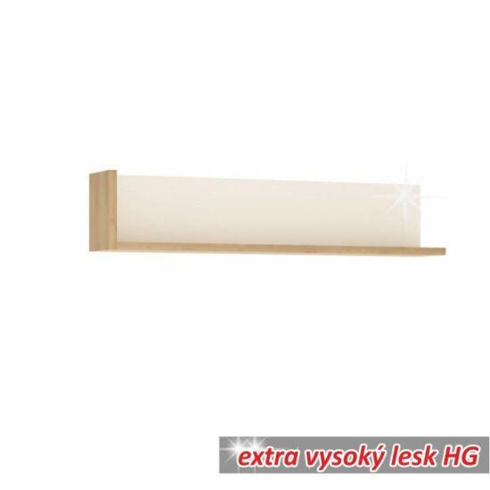 LEONARDO Polc LYOP01,  tölgy riviera/fehér extra magasfényű