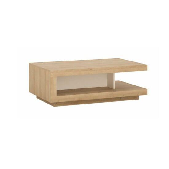 LEONARDO Dohányzóasztal LYOT01,  tölgy riviera/fehér extra magasfényű