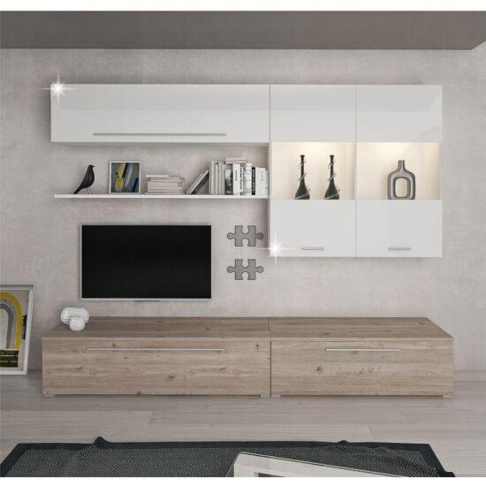 SOFI Nappali bútor - MDF/DTD laminált,  tölgy nelson/fehér HG