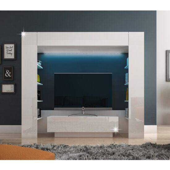 MONTEREJ Luxus nappali bútor LED világítással,  fehér/fehér extra magasfényű