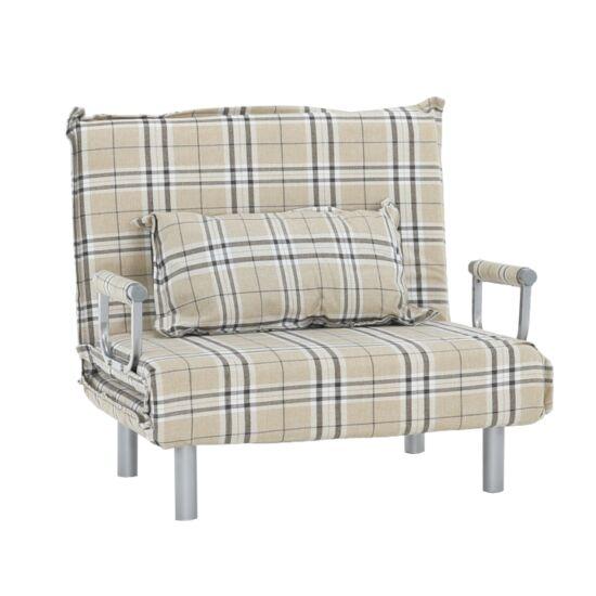 SARAN Kinyitható fotel párnával,  káró