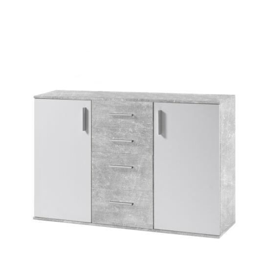POPPY Komód,  fehér/beton [5]