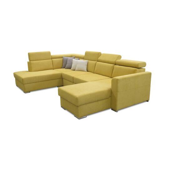 MARIETA Luxus ülőgarnitúra - balos kivitel,  sárga/barna párnák [U]