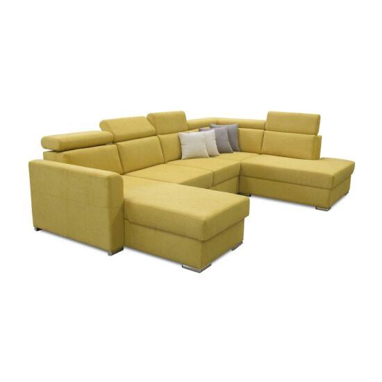 MARIETA Luxus ülőgarnitúra - jobbos kivitel,  sárga/barna párnák [U]