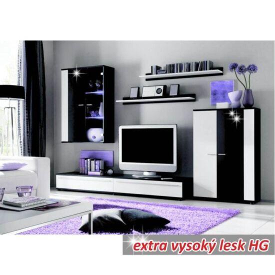 CANES Nappali sor LED világítással,  fehér/fekete extra magas fényű high gloss [NEW]