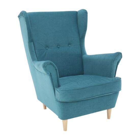 RUFINO Modern fotel,  13 olajkék + bükkfa