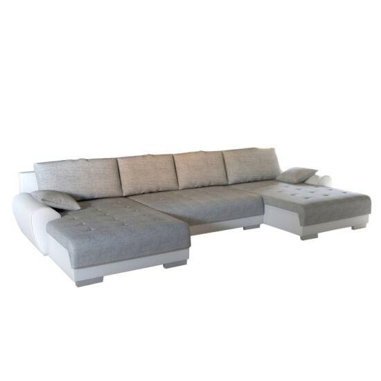 TRENDY U alakú ülőgarnitúra,  fehér mübőr/szürke anyag