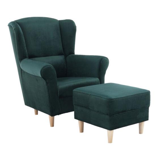 ASTRID Füles fotel puffal,  szövet smaragd