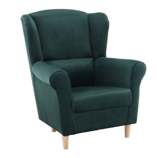 CHARLOT Füles fotel,  szövet smaragd