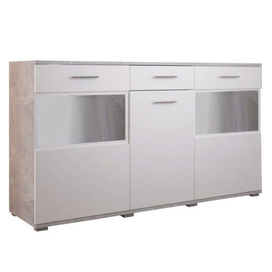 BREAK Komód,  fehér/világos beton