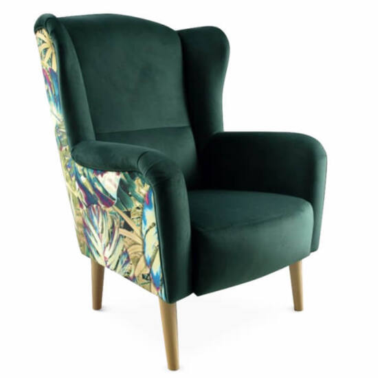 BELEK Dizájnos füles fotel,  szövet smaragd/minta Jungle