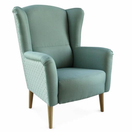 BELEK Dizájnos fotel,  szövet mentol/minta